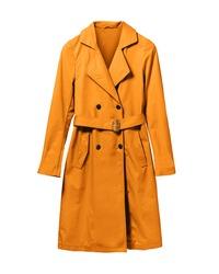 Orange elegant woman autumn coat isolated white