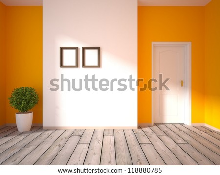 orange empty interior - stock photo