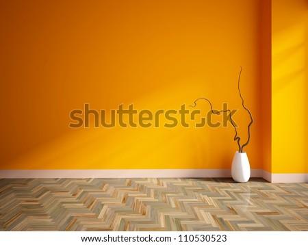 orange empty interior with a white vase