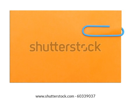 orange empty note isolated on white