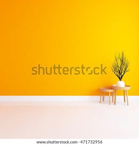 Orange empty room. Living room interior. Scandinavian interior. 3d illustration #471732956