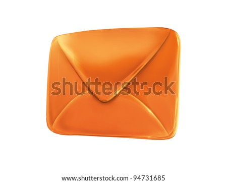 orange envelope isolated on white background