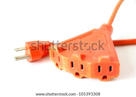 Orange extension cord with 3 outlets.