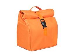 Orange fabric lunch bag isolated on white background