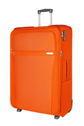Orange fabric travel suitcase with zipper, handle, lock white background isolated close up side view, large red cloth baggage case, big textile luggage trolley bag, summer holidays, tourism, vacation