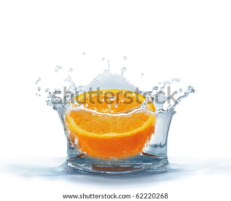 Orange falls into the water isolated on a white background. Splash water.