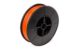 Orange filament 3d printer isolated on white background