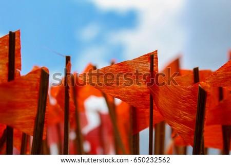 Free photos orange flag on white beach and blue sea avopix orange flag on the sky background 650232562 mightylinksfo