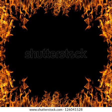 orange flame frame isolated on black background - stock photo