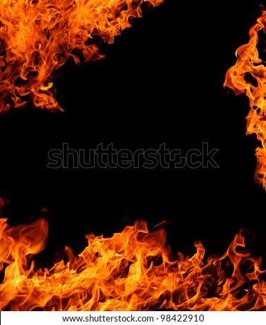 Orange flame frame isolated on black background