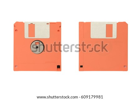 Orange floppy diskette with two sides isolated on the white background.
