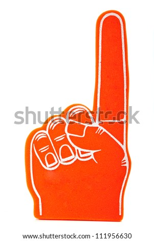 "Orange foam spirit finger signifying ""we are number 1"" pointing up - stock photo"