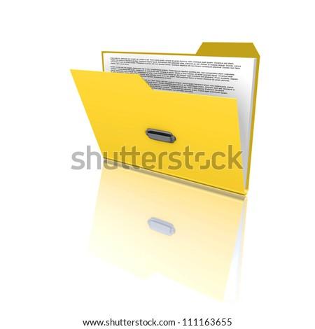 orange folder with files on white background