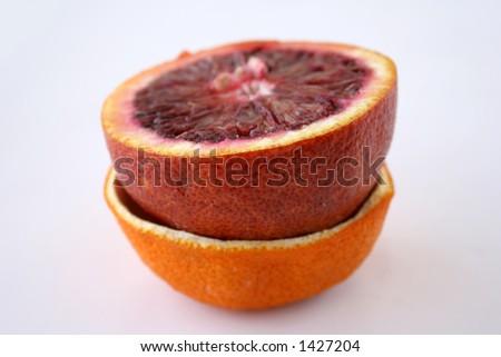 orange fruit and orange peel on white background