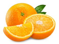 orange fruit and slice half leaf isolated on white, orange clipping path