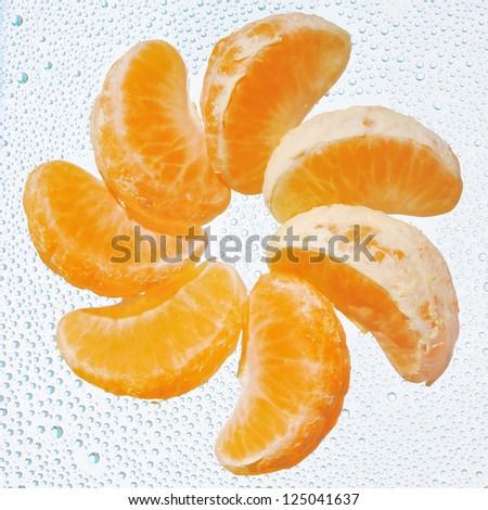 Orange fruit flower on water drop background