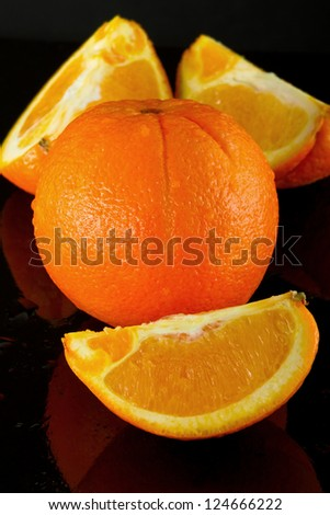 Orange Fruit in black background