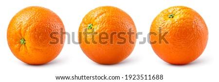 Orange fruit isolate. Orange citrus on white background. Whole orange fruit set. Full depth of field. With clipping path.