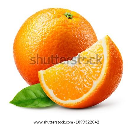 Orange fruit isolate. Orange citrus on white background. Whole orange fruit with slice. Full depth of field.