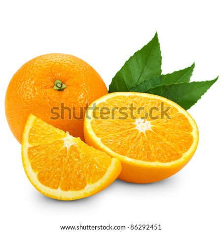 Orange fruit isolated on white background + Clipping Path