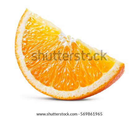 Orange fruit. Orang slice isolate on white. With clipping path. #569861965