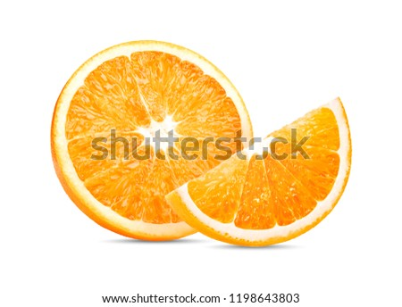 Orange fruit. Orange slice isolate on white background #1198643803