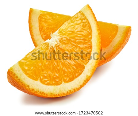 Orange fruit. Orange slice isolated on white background. Orange with clipping path.