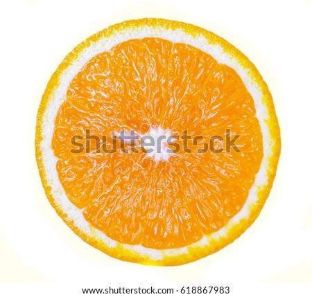 Orange fruit. Orange slice isolated on white background. Top view.  #618867983