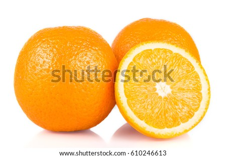 Orange fruit. Pieces of orange fruit isolated on white background. Citrus. Diet. Vitamins. Healthy food.