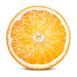 Orange fruit. Round orang slice isolate on white. With clipping path.