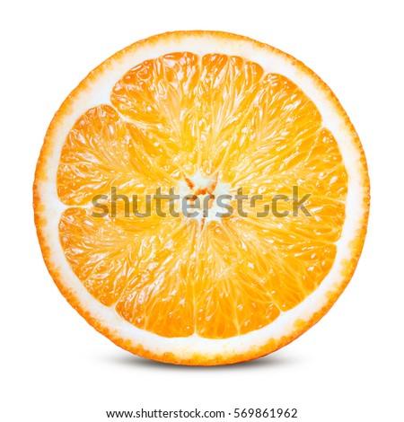 Orange fruit. Round orang slice isolate on white. With clipping path. #569861962