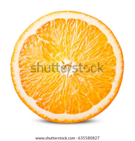 Orange fruit. Round slice isolated on white background. With clipping path.