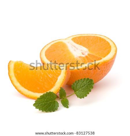 Orange fruit segment and citron mint leaf isolated on white background - stock photo