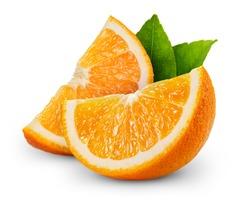 orange fruit slice isolated on white background