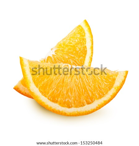 Orange fruit slices isolated on white background