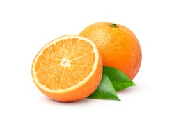 Orange fruit with cut in half and green leaves isolated on white background.