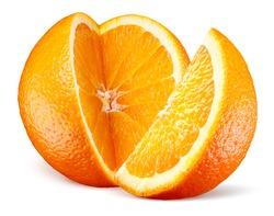 Orange fruit with cut isolated on white