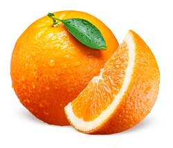 Orange fruit with drops. Whole, slice and leaf isolated on white