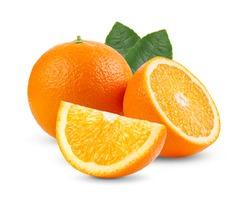 orange fruit with leaf  isolated on white background. Full depth of field