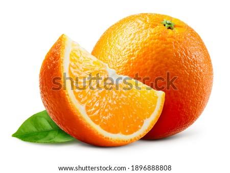 Orange fruit with leaf isolated. Orang whole, slice, leaves on white. Orange slice with isolate.
