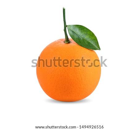 Orange fruit with orange leaves isolate on white background