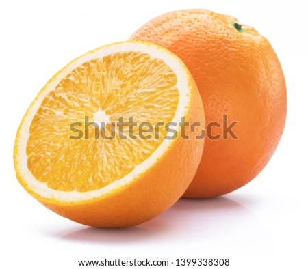 Orange fruit with orange slice isolated on white background.