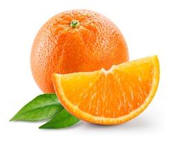 Orange fruit with slice and leaves isolated on white background.