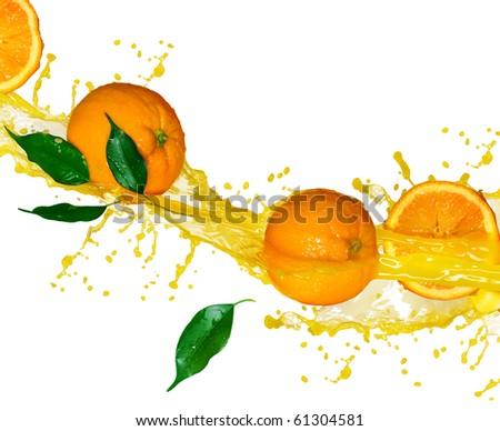 Orange fruits and splashing Juice in motion.