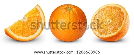 Orange fruits collection isolated on white. Orange Clipping Path