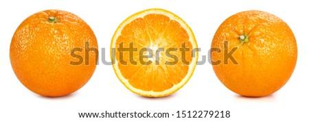 Orange fruits isolated on white background. Orange Clipping Path. Orange collection