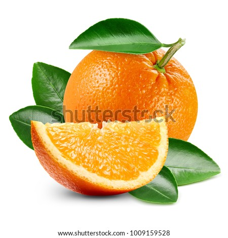 orange fruits with leaf isolated on white background
