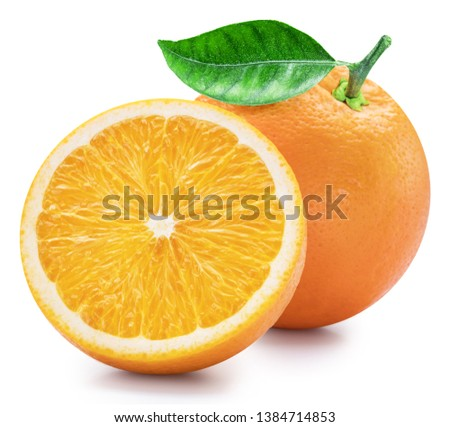 Orange fruits with orange leaf on white background. File contains clipping path.
