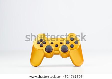 Orange Gaming Wireless Joytsick On White Background