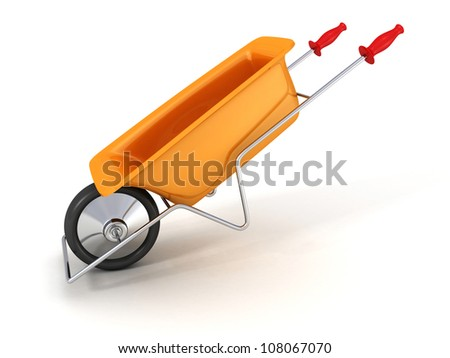 orange garden wheelbarrow on white background